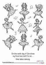 Ladies Dancing Colouring Nine Christmas Pages Theme Village Colour Activity Become Member Log Birds Dresses Activityvillage sketch template