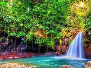 Nature Landscape Waterfall With Turquoise Blue Water Rock