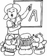 Teacher Coloring Pages Drawing Printable Kindergarten English Teachers Teaching Cartoon Happy Ever Getdrawings Getcolorings Alphabet sketch template