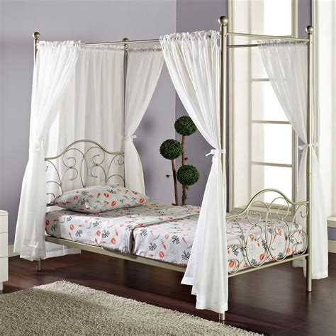 Pewter Metal Twinsize Canopy Bed With Curtains
