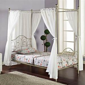 Pewter metal twin size canopy bed with curtains for Twin bed canopy