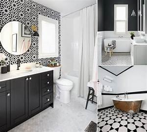 Salle De Bain Carrelage Noir : mod le carrelage salle de bain noir et blanc 25 d cors o ~ Dailycaller-alerts.com Idées de Décoration