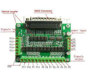 cnc 6 axis db25 breakout board interface adapter mach3 kcam4 emc2 db25 cable ebay