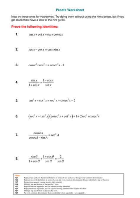 a level maths reciprocal trig functions worksheet by srwhitehouse teaching resources