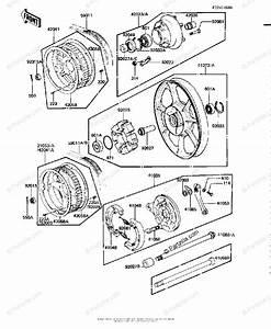 Kawasaki Motorcycle 1981 Oem Parts Diagram For Rear Wheel