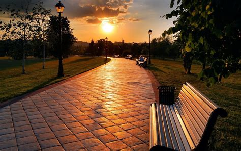 sunset park benches full hd desktop wallpapers p