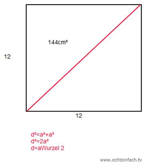 herausfinden welche kantenlaenge und diagonale das quadrat