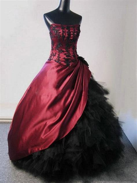 red black gothic wedding dresses ball gown strapless with