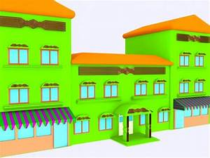 cartoon hotel 3d model