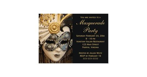 black white  gold masquerade party invitations zazzlecom