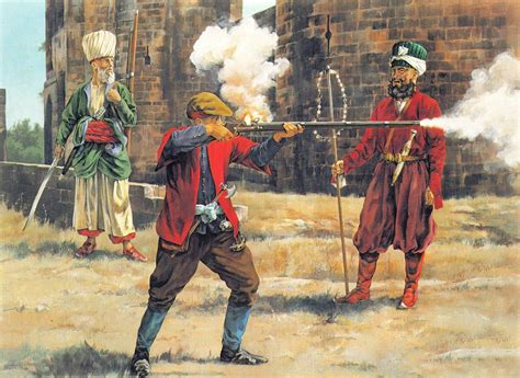 Ottoman Janissary Arguebusiers In Training