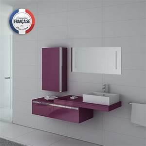 Meuble Simple Vasque : meuble de salle de bain 1 vasque aubergine meuble simple vasque design dis9550au distribain ~ Teatrodelosmanantiales.com Idées de Décoration
