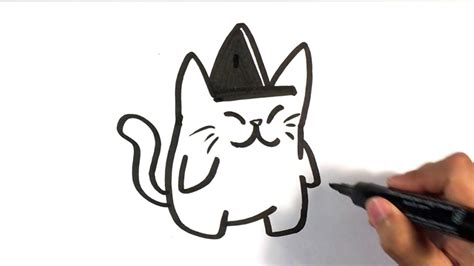 draw cute cat  witches hat halloween drawings