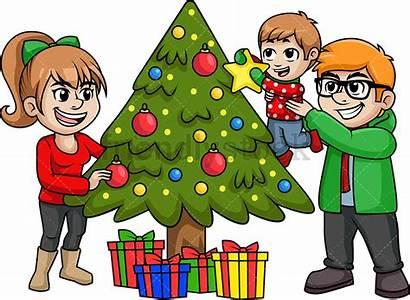 Tree Decorating Clipart Cartoon Children Decorations Happy