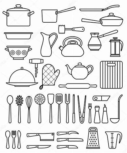 Utensils Kitchen Silhouette Illustration Vector Cookware Icons