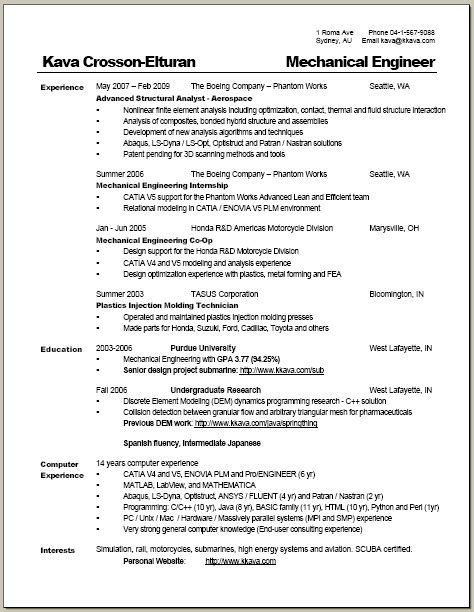 resume layout australia