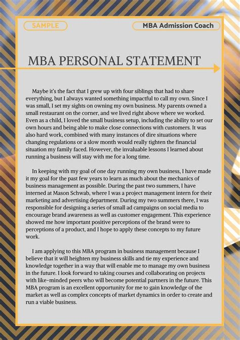 mba personal statement sample     learn