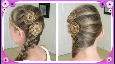 Flower Accented Side French Braid / Spring Hairstyles