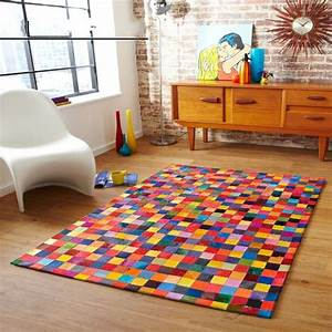 Tapete Living : rainbow colorful chequer luxury cowhide seamed rug ~ Yasmunasinghe.com Haus und Dekorationen