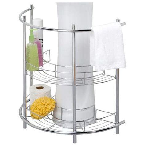 chrome finished pedestal sink rack with hanging bar and