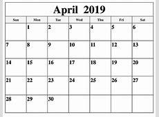 April 2019 Calendar editable Printable – Free Printable