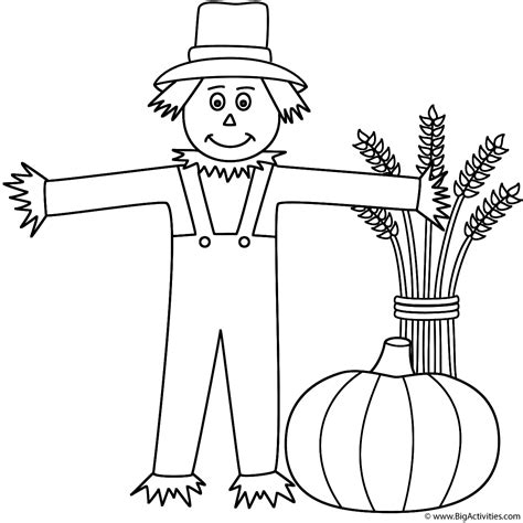 scarecrow  wheat sheaf  pumpkin coloring page