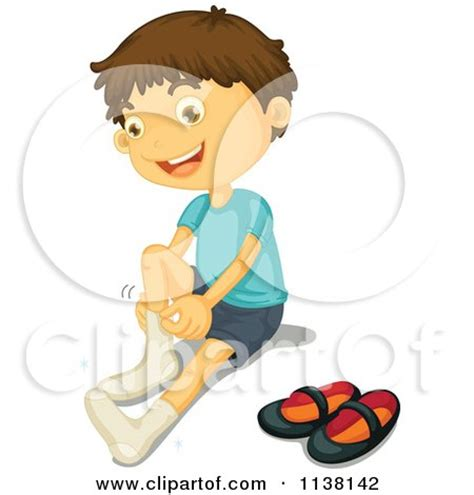 happy brunette boy putting on his socks posters art prints by graphics rf interior wall decor