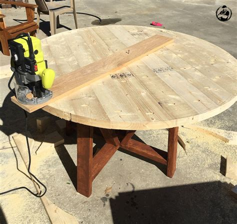 diy round dining table round trestle dining table free diy plans rogue engineer