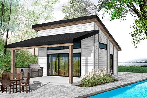 One Bed Modern Tiny House Plan 22481DR Architectural