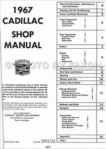 1967 Cadillac Repair Shop Manual Reprint Calais De Ville Fleetwood Eldorado