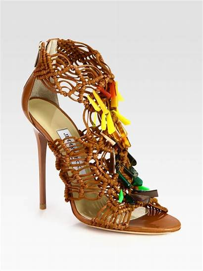 Jimmy Choo Sandals Beaded Woven Leather Brown