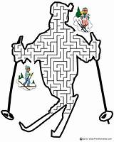 Maze Ski Mazes Printable Printactivities Skier Winter Shape Shaped Skiing Activity Coloring Pages Sports Hill Friend Activities Left Guide Printables sketch template