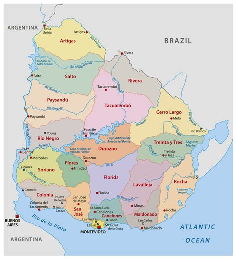 large detailed administrative divisions map  uruguay