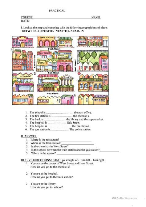 city prepositions worksheet  esl printable