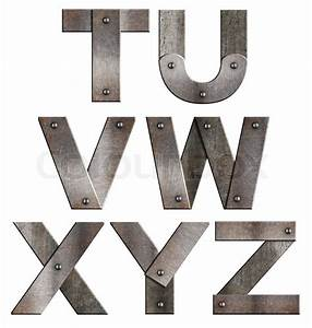 old grunge metal alphabet letters isolated on white from t With how to make metal letters
