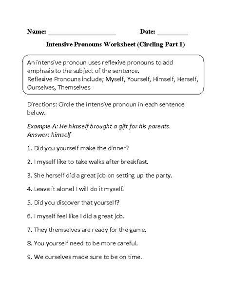 pronouns worksheets intensive pronouns worksheets