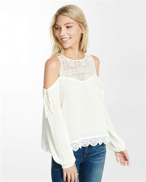 cold shoulder blouses lyst express lace yoke cold shoulder blouse in white