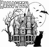 Coloring Halloween Pages Haunted Printable Houses Drawings Printables Print Draw Colouring Sheets Scary Kidprintables Adult Adults Return Main Detailed Bing sketch template