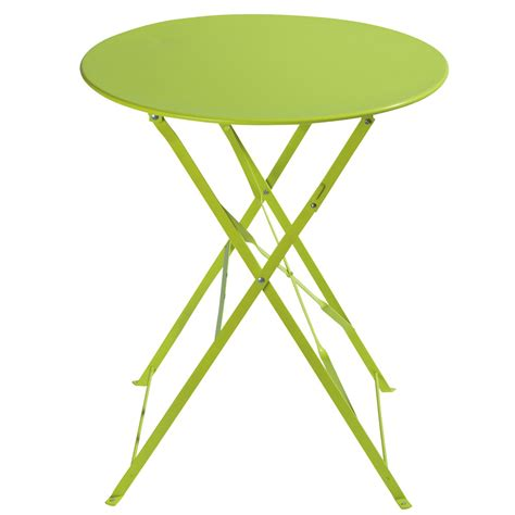 metal folding garden table in lime green d 58cm confetti