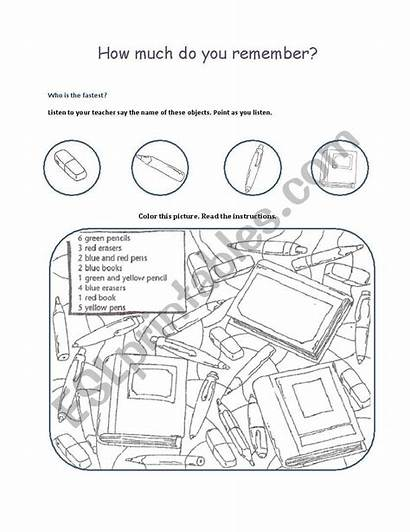 Objects Coloring Classroom Worksheet Worksheets Pages Vocabulary