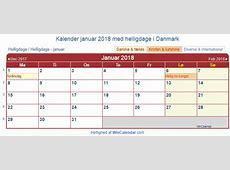 Danmark Kalender til udskrivning januar 2018