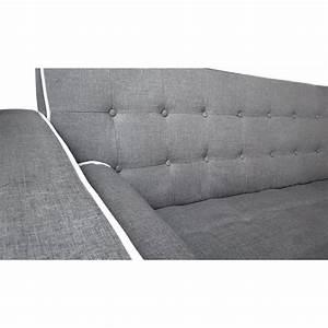 Canapé Scandinave Gris : canap convertible scandinave tissu gris liser blanc pas cher scandinave deco ~ Teatrodelosmanantiales.com Idées de Décoration