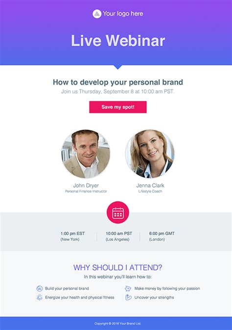 webinar invitation pages  getresponse