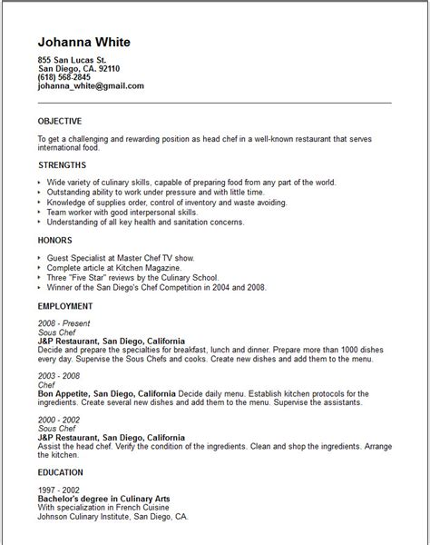 Culinary Resume by Travel And Tourism Industry Resume Exles