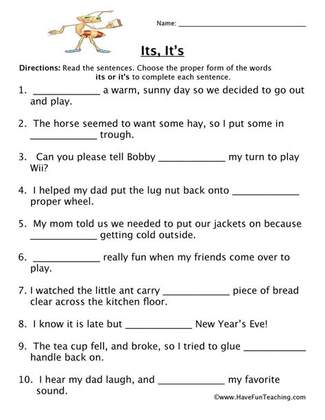 Homophone Worksheet  Its, It's  Have Fun Teaching