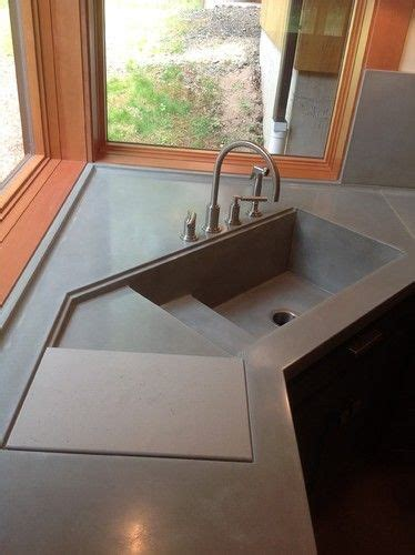 kitchen sink with sliding cutting board large concrete corner kitchen sink w sliding cutting 9588