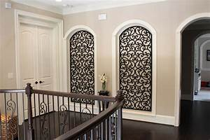 niche decoration ideas hall mediterranean with hall decor With kitchen colors with white cabinets with large wrought iron wall art