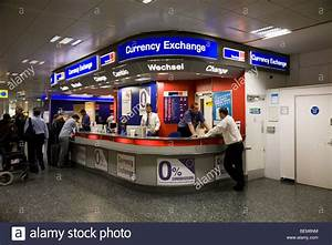 Bureau de Change office operated by Travelex at Gatwick airport South Stock Photo, Royalty Free