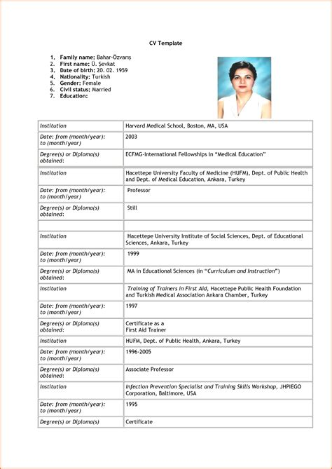 Cv Application Template by 7 Curriculum Vitae Format For Application Budget