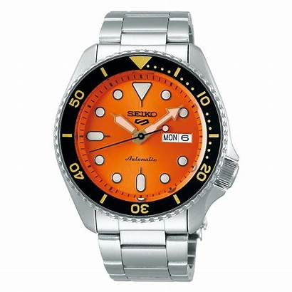 Orange Dial Sports Steel Stainless Automatic Mens